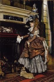 The Fireplace (Chimney) Artist: Tissot, James (French Victorian. Also known as: James Jacques Joseph Tissot, Jean-Jacques Tissot Victorian Art, Victorian Fashion, Fashion Vintage, Dolly Varden, Beaux Arts Paris, Joseph, Fu Dog, Oil Painting Reproductions, Historical Costume