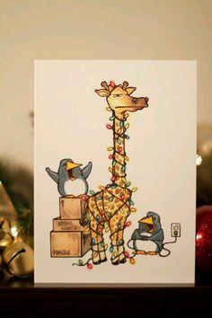 Items similar to Christmas at the Zoo – Christmas Card on Etsy – Christmas DIY Holiday Cards Christmas At The Zoo, Funny Christmas Tree, Christmas Doodles, Diy Christmas Cards, Xmas Cards, Christmas Art, Christmas Humor, Holiday Cards, Christmas Lights