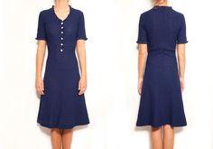 1950 Navy Blue dress   Vintage dress   Embroidered dress   Knitted dress   womens dress   V neck dress   Navy dress   Blue dress   Sundress by VintageCosmopolitan on Etsy
