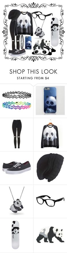 """Panda Style"" by crystal0248 ❤ liked on Polyvore featuring Accessorize, Topshop, Vans, Laundromat, Bling Jewelry, Ray-Ban, Enjoi and Panda"
