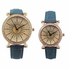 Dial redondo de Pareja pu banda de cuarzo reloj de pulsera – CLP $ 6.465