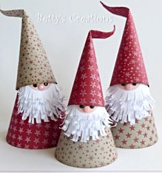 Who doesn't love adorable gnomes and easy kids crafts? These super cute Christmas gnomes (or Santas )can be perfect Christmas crafts for the kids because they are super easy to make, and doesn't need any special crafting . Christmas Gnome, Christmas Paper, Christmas Crafts For Kids, Christmas Projects, Winter Christmas, Handmade Christmas, Holiday Crafts, Christmas Cards, Christmas Decorations