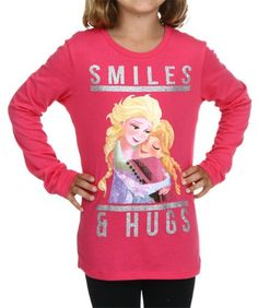 Girls Frozen Smiles & Hugs Longsleeve Shirt #TShirts #CustomShirts #BandTees