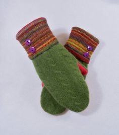 MERINO WOOL WOMEN'S Recycled Sweater Mittens - Green & Bright Colors. Womens Mittens. Accessories. Wool Mittens. Green. Pink. Striped on Etsy, $28.00