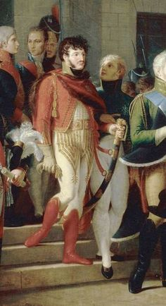 Detail from Jean Charles Tardieu's painting of Napoleon receiving the Queen of Prussia at Tilsit Napoleon Josephine, Grand Duke, Prussia, Empire, Queen, Detail, Painting, Napoleon, Warriors