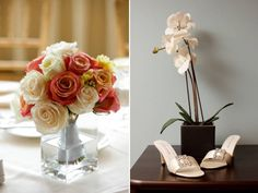 Romantic peach, coral and ivory rose table centerpiece; open toe ivory bridal heels