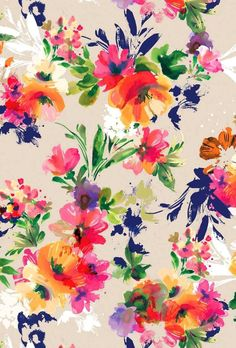 floral pattern, design, painting, orange, blue, pink. textile design. textile print https://www.facebook.com/RebeccaYoxallArt