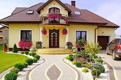 Rain and snow are going to play a huge part in your yard landscaping decisions. For example you will have to plan for your yard landscaping with care. These yard lan Landscape Plans, Landscape Design, Garden Design, House Design, Style At Home, Yellow Houses, Front Yard Landscaping, Landscaping Ideas, Home Fashion