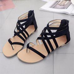 90184637a40ec  Wish  Plus Size 34-43 Flats Summer Women Sandals 2018 New Fashion Flat