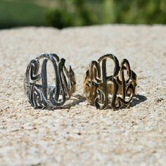Cut out monogram rings...Sterling Silver or Gold dipped