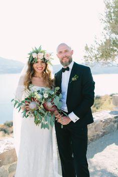 Romantic Wedding in Milos island Greece Protea Wedding, Wedding Bouquets, Wedding Dresses, Wedding Dinner, Wedding Ceremony, Wedding Dress Train, Greece Wedding, Bohemian Bride, Celebrity Weddings
