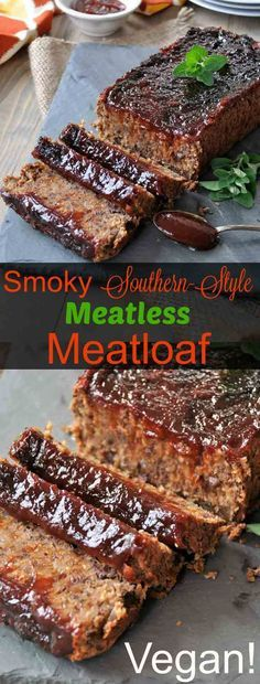 Smoky Southern-Style Meatless Meatloaf Vegan meatloaf that's soy-free, dairy-free, and egg-free, but it's full of smoky BBQ flavor. Meatless Meatloaf, Vegan Meatloaf, Meatloaf Recipes, Meatloaf Sauce, Bbq Meatloaf, Meatless Meatballs, Vegan Meatballs, Whole Food Recipes, Cooking Recipes