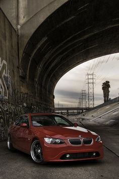 Red. BMW. Bridge.