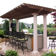 Family Leisure can custom create any living area or pergola from wood or stone or both. Using the highest quality materials and the most attractive designs ensures that your pergola will be a thing of beauty. Deck Pergola, Gazebo, Steel Pergola, Pergola With Roof, Cheap Pergola, Covered Pergola, Pergola Shade, Pergola Ideas, Garage Pergola