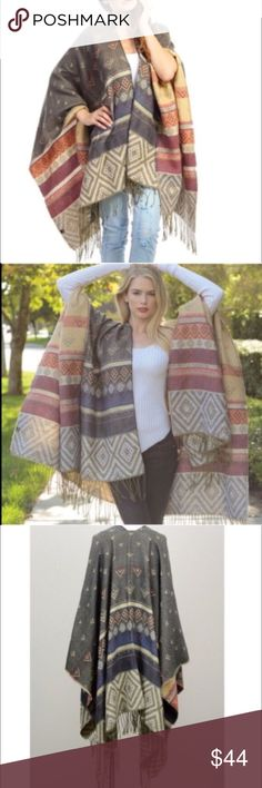 """🆕The KARA print tassel poncho - GREY Multi pattern tassel poncho. Exceptional quality.,dimensions 61"""" x 55"""". 100% acrylic. AVAILABLE IN GREY & NAVY🚨NO TRADE, PRICE FIRM🚨 Bellanblue Accessories Scarves & Wraps"""