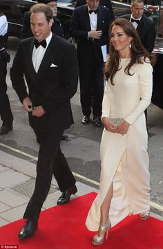 Back in the spotlight: The royal couple looked relaxed and happy as they stepped on to the red carpet