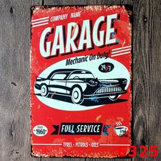 20X30cm My Garage My rules Bar Retro Iron Metal Painting Signs Tin Sign Plate Wall Art Deco Vintage Iron Painting 6325 $3.99