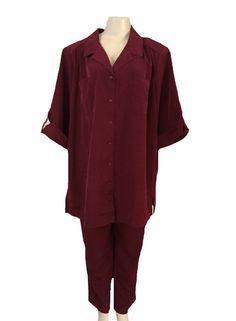 Roaman's Burgundy Short Sleeve Blouse and Pant Set Size 20W | eBay