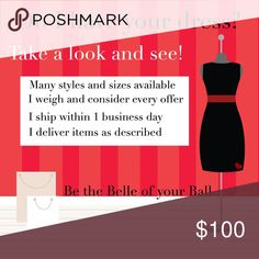 Valentines Day Invitation to shop with confidence! Looking for a cute dress, top or bottom piece for Valentine's Day? How about a great pair of heels?  My small closet is stocked full of goodies in many sizes and featuring different styles. Take a look and see what jumps at you.   Remember, you can always make an offer and let me know you're interested in a shopper discount. I will meet you where I can ALWAYS!   Get the shopping behind you, and go be the Belle of your Ball! Dresses