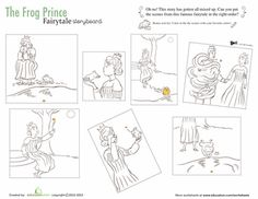 First Grade Comprehension Fairy Tales Worksheets: The Frog Prince Story Reading Comprehension Skills, Comprehension Activities, Book Activities, Frogs Preschool, Prince Stories, Sequencing Pictures, Fairy Tales Unit, Famous Fairies, Frog Theme