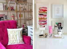 (We need this pillow)! This office is gorgeous. I would love to create an orange, pink and gold office. I need to find the perfect color palette and start planning. Home Office Space, Home Office Design, Home Office Decor, Office Workspace, Office Spaces, My New Room, Apartment Living, Home Decor Inspiration, Decoration