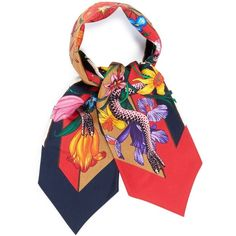Gucci 'Floral Snake' print stripe silk neck bow scarf ($180) ❤ liked on Polyvore featuring accessories, scarves, gucci scarves, striped shawl, floral print scarves, gucci and silk scarves