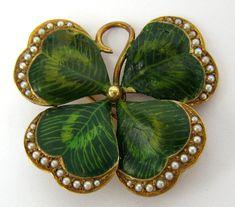 Art Nouveau Natural Pearl & Diamond Four Leaf Clover Enamel 14K Gold Brooch