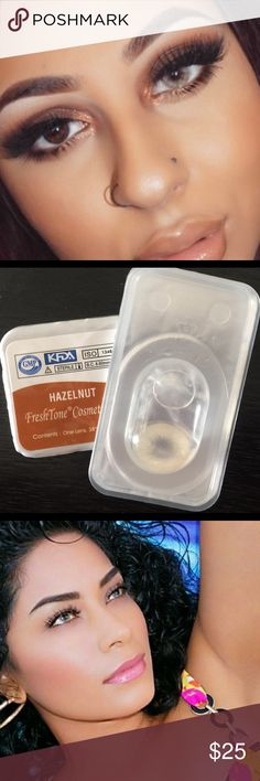 Hazelnut  Contact Lenses New just in Freshtone luxury HazelNut lenses !  No rings very natural look .  Diameter 14.5  B.C 8.5  Use 1 year - ☺ Case is included ! - Same day shipping ! Makeup