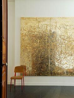 Rudolph Stingel's <em>Untitled </em>(2012)behind a Jean Prouvé chair.