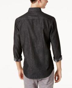 American Rag Men's Denim Shirt, Created for Macy's - Black 2XL