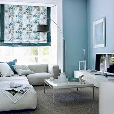 Grey and Blue living room. -Perfect for my piano room!