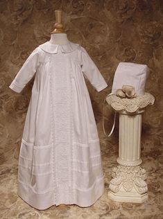 Cotton Sateen Heirloom Boy Christening Gown / Bishop Gown