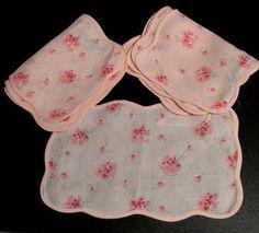 Vintage Cocktail Napkins Set  D. PORTHAULT FRANCE Pink Roses 8 (eight)  Linen