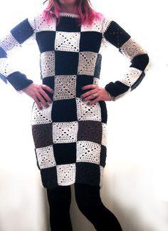 Black and white granny square dress
