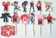 12 Wreck-It Ralph Birthday Party Cupcake Cake Sticker Toppers. $7.50, via Etsy.