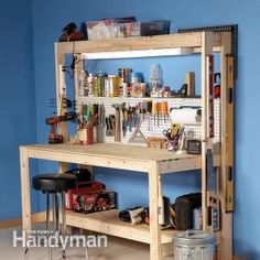 How to Build a Workbench: Here's a super simple workbench that you can build for about fifty dollars. Check out the free plans and step-by-step instructions from The Family Handyman Magazine