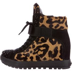 Pre-owned Miu Miu Ponyhair Studded Wedge Sneakers ($325) ❤ liked on Polyvore featuring shoes, sneakers, animal print, studded wedge sneakers, velcro wedge sneakers, studded high top sneakers, wedge sneakers and cheetah print sneakers