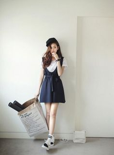 Lovely blue dress with white shirt