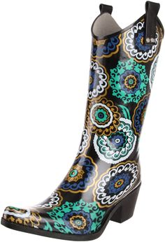 Nomad Women's Yippy Rain Boot,Black/Blue Pinwheel,6 M US