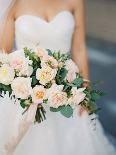Pretty peach rose bouquet: http://www.stylemepretty.com/little-black-book-blog/2016/06/15/rustic-romance-la-wedding/   Photography: Diana McGregor Photography - http://www.dianamcgregor.com/
