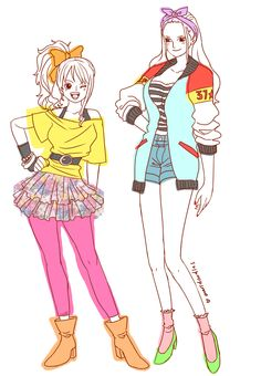 80s One Piece : oh my Nami & Robin looks soo adorable here art by: maridoodles on tumblr)