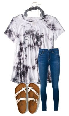 cute with the marble shirt and white birks
