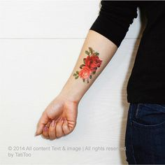 Blossom Rose temporary tattoo Temporary Tattoo T163 by TatiToo, $6.50
