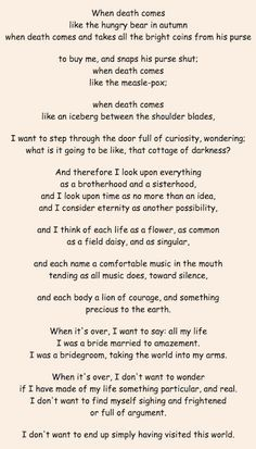 when death comes mary oliver essay - Google Search