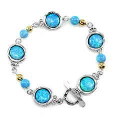 Israeli Jewelry Silver Bracelet with Opal and Goldfilled beads