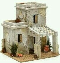 Nativity setting, Arabian house with fruit shop Christmas Nativity Scene, Christmas Villages, Fontanini Nativity, Garden Nook, Fruit Shop, Free To Use Images, Ceramic Houses, Ceramic Clay, Concept Architecture