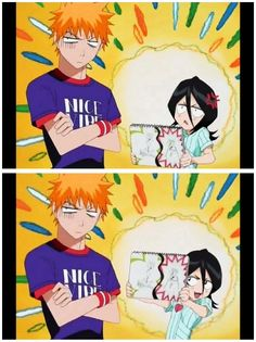 Rukia and Ichigo. #Anime #Bleach #Rukia'sDrawing :P