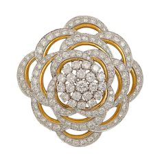 DAVID WEBB Diamond Brooch/Pendant | From a unique collection of vintage brooches at https://www.1stdibs.com/jewelry/brooches/brooches/