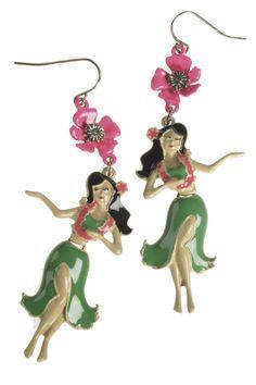 pendientes de metal esmaltado, con hawaianas bailando de Claire's