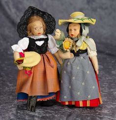 "Two 9"" Italian Felt miniature dolls by Lenci in original provincial costumes. $400/600"